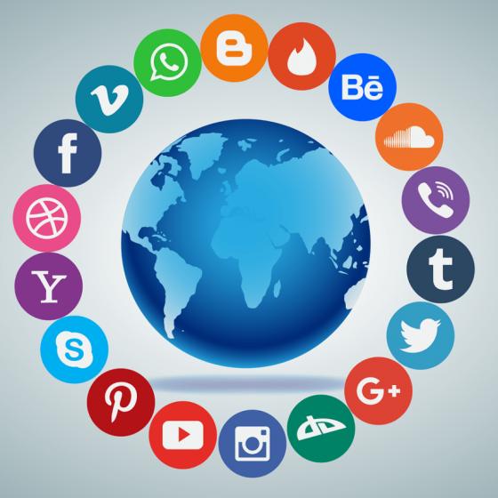 social media surrounding globe 560x560 - The Effect Of Social Media On Digital Marketing